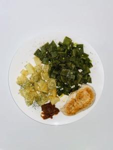 Knolselderij, snijbonen, kip en Ume pasta