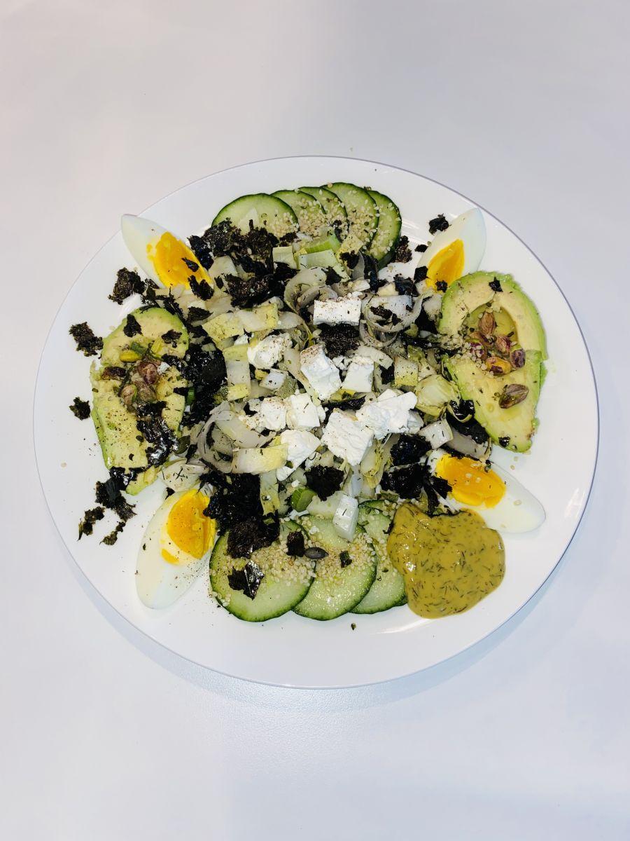 Venkel witlofsalade met ei en griekse feta