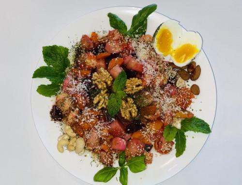 Warm groenten fruit ontbijt